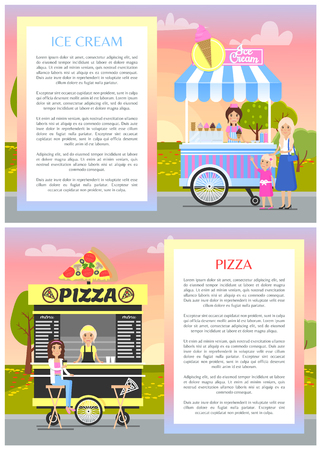 Ice cream and pizza shops in summer park banner, vector illustration of fast snack cart, pizzas icecream street food carts, frames with text Illustration