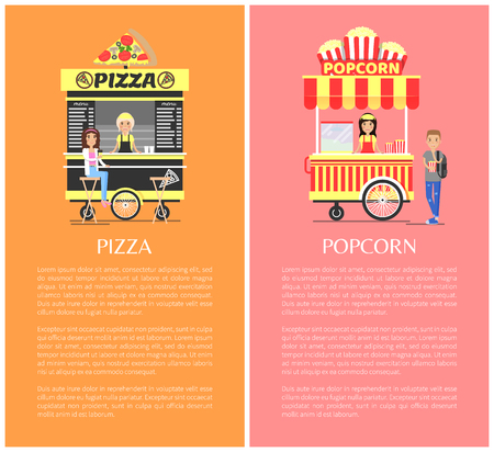 Pizza and Popcorn Collection Vector Illustration
