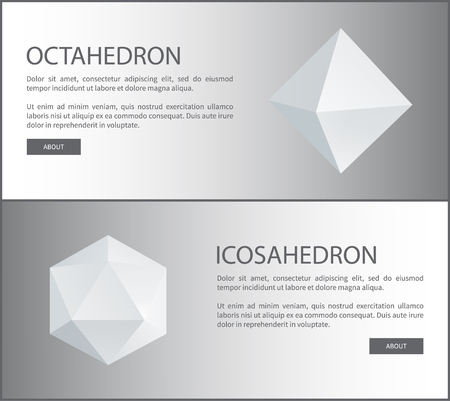 Octahedron and icosahedron three-dimensional shapes, regular solid figures with equal triangular faces geometric 3D in white vector web poster