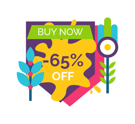 Buy now 65 off sale sticker label with abstract branches, vector illustration of push button with cartoon plants, paint splash tag isolated on white