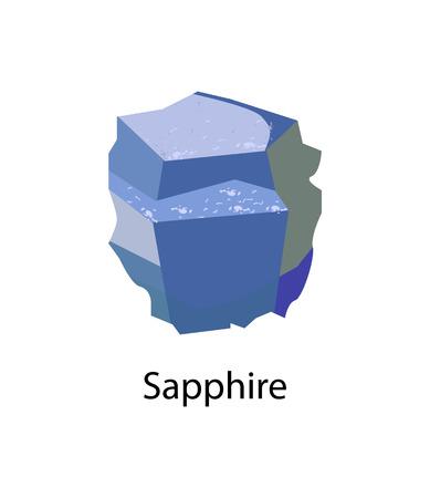 Sapphire precious gemstone, variety of mineral corundum, an aluminium oxide. Blue gem stone vector illustration isolated on white background