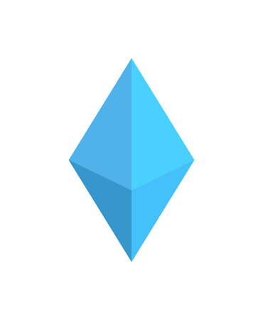Bright Blue Figure of Octahedron, Colorful Card