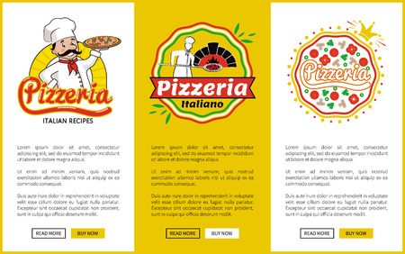 Italian Pizzeria Promotional Vertical Posters Set Stock Vector - 106315768
