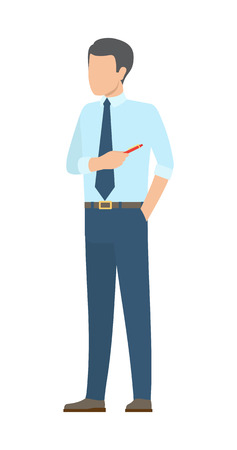 Startup poster with male businessman in ties with pointer pen pointing on something vector of person in cartoon style, team building vector illustration
