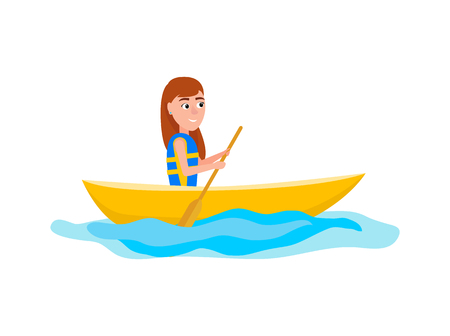 Kayaking girl sitting in boat and holding oar, summer sport activities outside, vector illustration isolated on white background