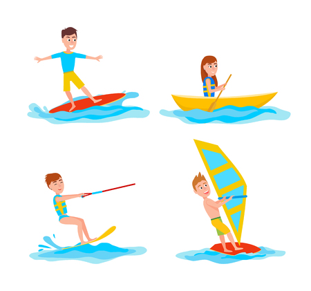 Summer sport collection set of activities, katesurfing and surfing, boating and windsurfing, vector illustration, isolated on white