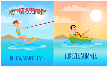 Lovely summer time colorful vector illustration, sunny weather, best water sports, kitesurfing and man on rubber donut forever summer fluffy clouds