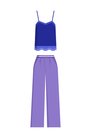 Stylish female summer costume of blue shirt with lace and loose trousers that has high waist isolated cartoon vector illustration on white background