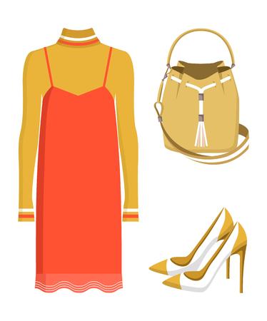 Summer Mode Dress and Bag Vector Illustration
