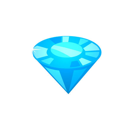 Brilliant closeup poster, precious stone of blue color with facets and carats, treasure and jewelry, vector illustration isolated on white background 向量圖像