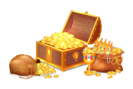 Old shiny treasures in wooden chest and silk sacks. Gold crown, ancient coins, fancy goblet and pearl beads isolated cartoon vector illustration
