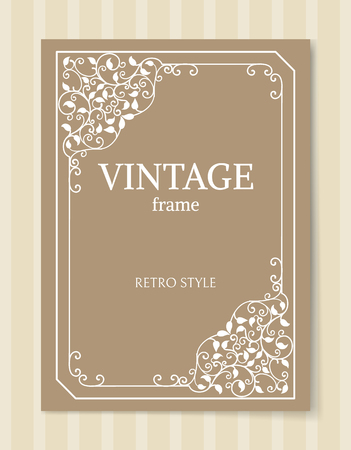 Vintage frame retro style engraving baroque border vector illustration path isolated on brown background. Foliate frames in flat style in corners