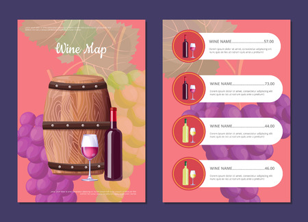 Wine map cover and price list with wooden barrel and sealed bottle. Glass of delicious red vino and bunches of grapes behind vector illustration Ilustração