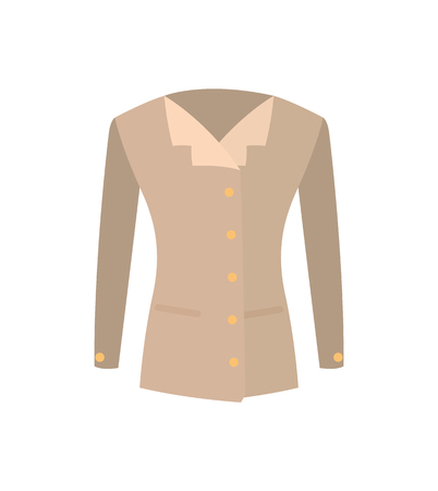Female jacket double-breasted beige coat with buttons vector illustration isolated on white. New summer or spring mode, outer garment extending to waist