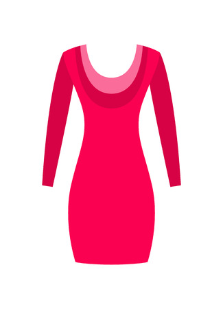 Red Dress with Round Collar, Made from Cotton Wool