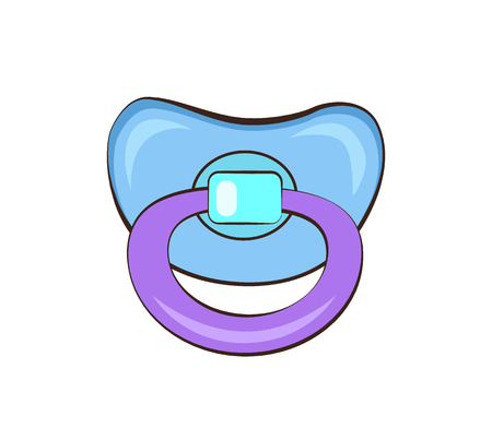 Manichino di colore blu e viola, piumino per bambini creato affinché i bambini siano pacifici rilassati, illustrazione vettoriale di ciuccio per bambini isolato su bianco Vettoriali