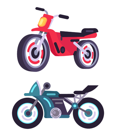 Modern sportive motorbikes in red and blue corpuses. Fast dangerous extrime vehicle. Maneuver transport that can gain high speed vector illustrations.