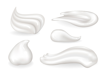 Creamy edible and cosmetic substances small samples set. Sweet whipped cream swirls or makeup means smears isolated realistic vector illustrations.