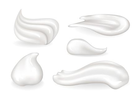 Ensemble de petits échantillons de substances comestibles et cosmétiques crémeuses. Des tourbillons ou du maquillage de crème fouettée sucrée signifient des frottis isolés d'illustrations vectorielles réalistes. Vecteurs