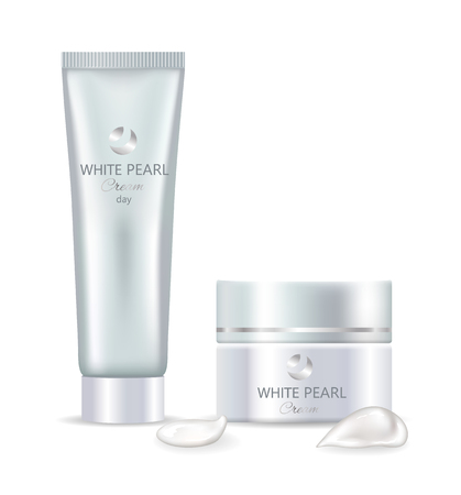 White pearl day cream in big tube and jar set. Skincare product inside shiny containers with small smears isolated realistic vector illustrations. Illustration