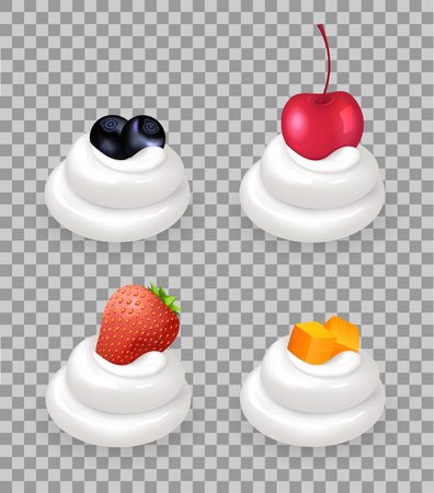 Ripe berries with fruit cubes on top of whipped cream. Healthy blueberry, sweet cherry, juicy strawberry and papaya pieces vector illustrations set.