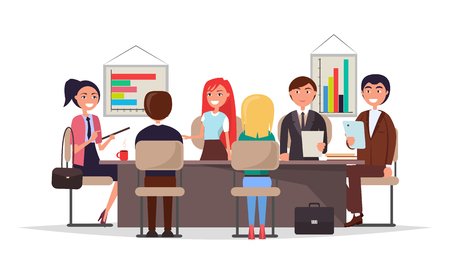 Office workers on business meeting around table. Employees discuss progress and analyze graphics. Men and women at conference vector illustration.