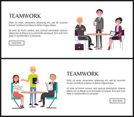Teamwork Internet banners templates set. Business people sit around table and discuss projects vector illustrations on web pages with sample text.