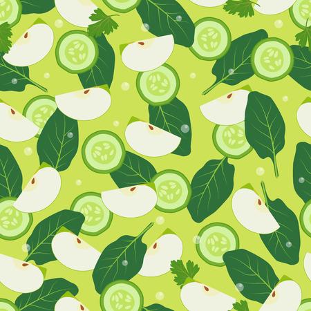 Modello senza cuciture di design della carta da parati con pezzi di mela, foglie di alloro, fette tagliate di cetriolo illustrazione vettoriale sfondo di ingredienti per la dieta detox