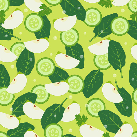 Wallpaper design seamless pattern with pieces of apple, bay leaves, cut slices of cucumber vector illustration background of ingredients for detox diet