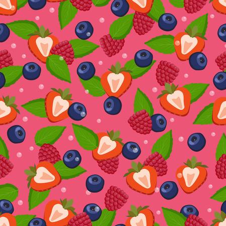 Detox fruit ingredients seamless pattern cut strawberries, blueberries and raspberries, mint leaves, summertime healthy organic vegetarian food vector
