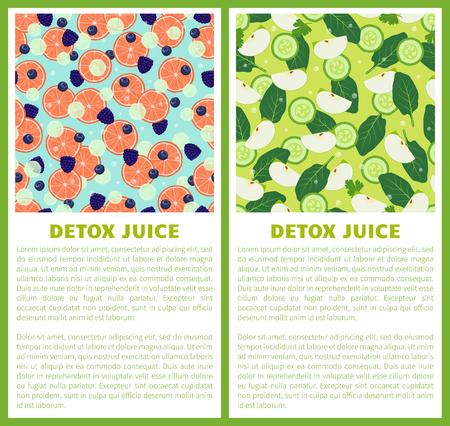 Detox Juice Poster Ingredients of Refreshing Drink Ilustração