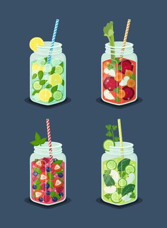Beverages for Dieting Set Vector Illustration Çizim