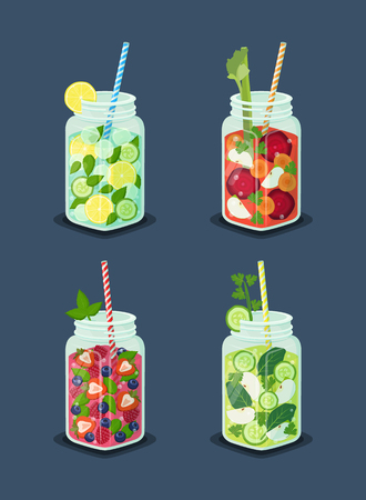 Beverages for Dieting Set Vector Illustration Illustration