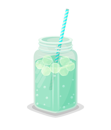 Detox drink with ice and straw inside big square jar. Healthy cool beverage to clean organism or refresh in hot summer isolated vector illustration.