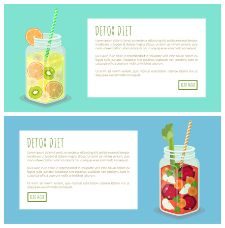 Detox diet collection of pages with headlines, text sample, jars and beetroot slices, sweet carrot, apple pieces, parts banana vector illustration