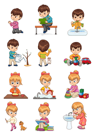 Male and female collection, activities set, boy brushing teeth, growing tree playing car cubes, girl washing plates, walking dog vector illustration
