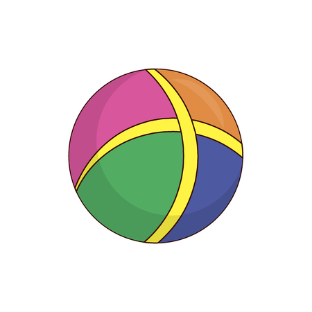 Colorful rubber childish ball for active pastime. Equipment to play sport games. Bright boyish toy in form of sphere isolated vector illustration.