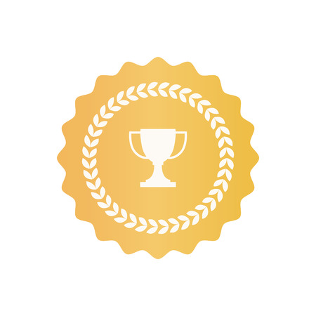 Round Gold Certificate Symbol with Trophy Cup Illustration