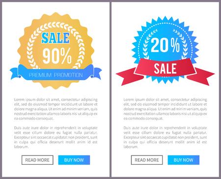 Offre spéciale de vente d'étiquettes rondes avec filigrane, ensemble d'affiches Web de branches de laurier, bannières publicitaires, ajoutez votre annonce promotionnelle textuelle, boutons poussoirs Vecteurs