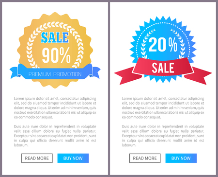 Sale special offer round labels with watermark, laurel branches web posters set, advertisement banners, add your text promo advert, push buttons Çizim