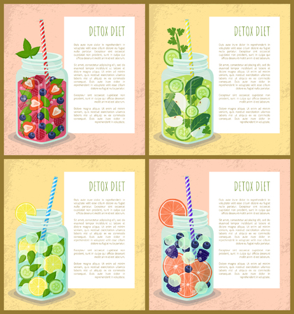 Detox diet set of posters juicy vegetarian energetic drinks in glass jars, cocktails of fruits and vegetables, frame with text samples vector samples