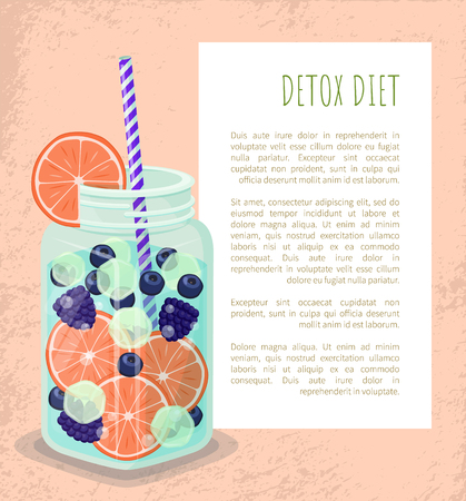 Detox Diet Poster Mug with Refreshing Drink Vector Standard-Bild - 105658344