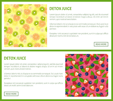 Detox juice web poster ingredients of refreshing drink citrus fruits, green kiwi, cut strawberry and blueberry, mint leaves vector banners with text set