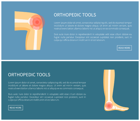 Orthopedic tools medical image vector illustration isolated on blue text sample and push buttons, pain in bones abstract visauluzation, human legs
