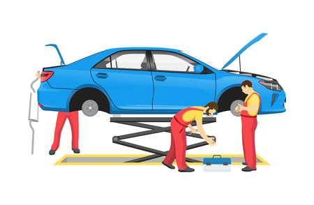Auto mechanics lifted blue car without tyres people working on fixing vehicle surrounding transport man holding tool isolated on vector illustration 일러스트