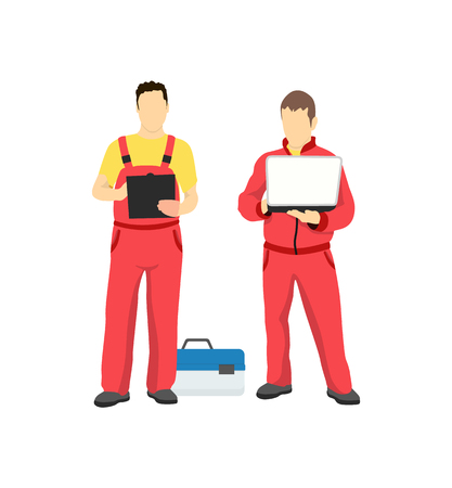 Men in work uniform isolated on white backdrop, vector illustration with two specialist holding laptop, diagnostic job and black tablet for papers