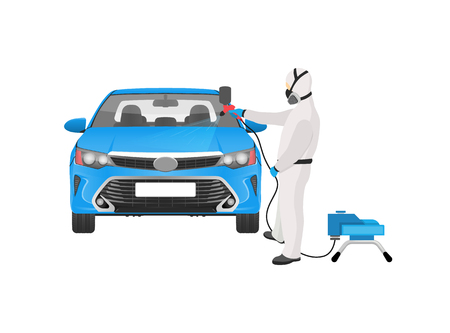 Man wearing costume and breathing through respirator painting car in blue color, with help of dispenser, working male isolated on vector illustration