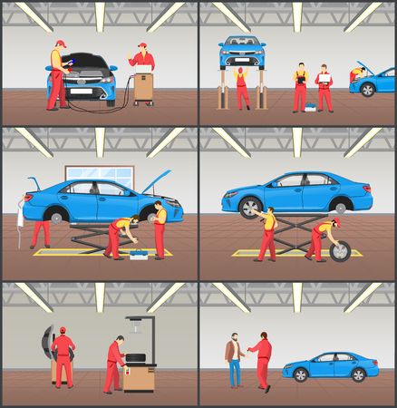 Auto service and car garage color vector cards set illustration of working processes in automobile workshop, vehicle inspection, problem diagnostic