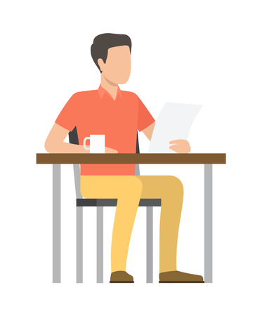 Person sitting by wooden table and reading paper, cup with beverage standing close to businessman vector illustration isolated on white background