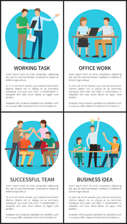 Business idea and working task, office work and successful team posters collection, people achieving results by brainstorming vector illustration